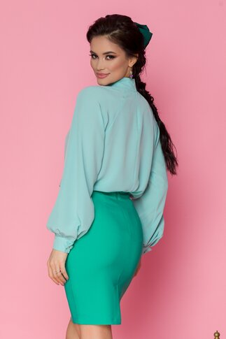 Bluza LaDonna verde pal cu nasturi decorativi