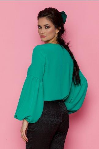 Bluza LaDonna verde vaporoasa cu snur la gat si maneci lungi