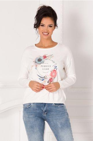 Bluza Lara alba cu flori 3D si text imprimat pe fata
