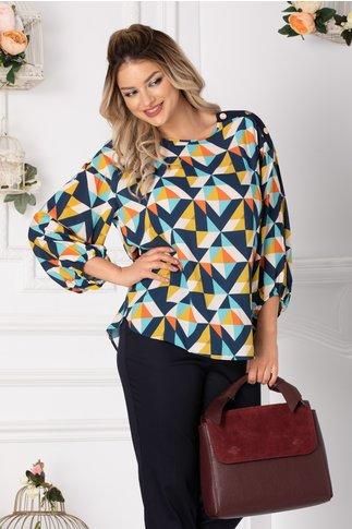 Bluza Lavy casual cu imprimeuri geometrice multicolore