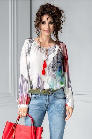 Bluza Leila alba cu dungi colorate
