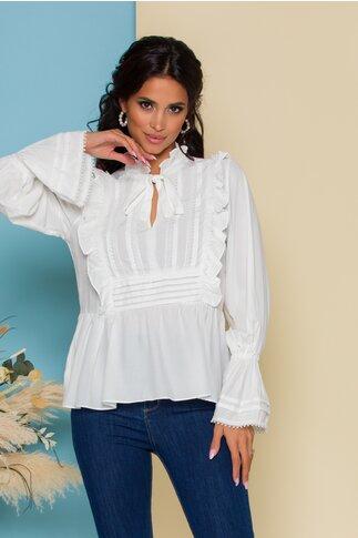 Bluza Leona alba cu volanase