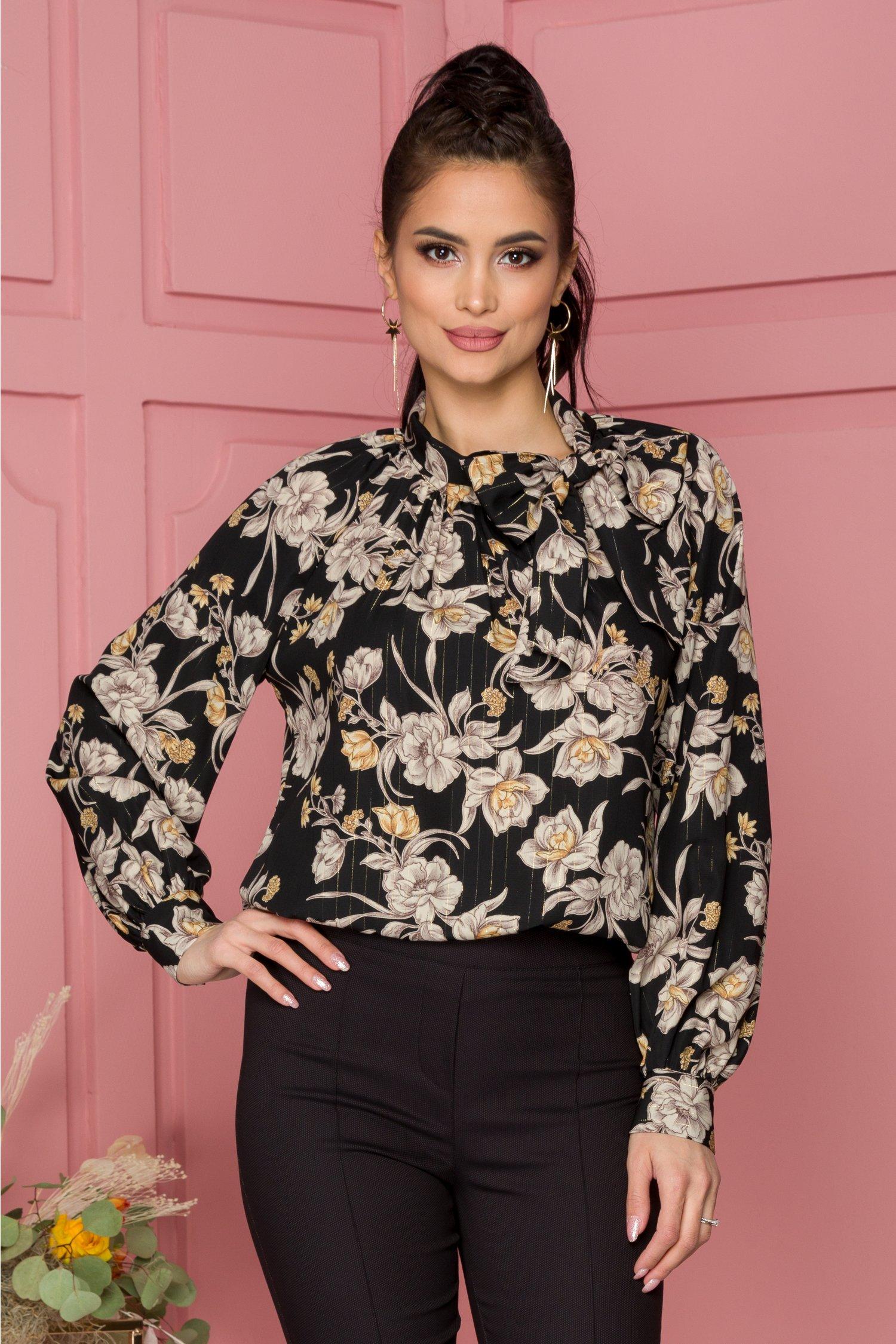Bluza Leonard Collection neagra cu imprimeu floral si insertii aurii