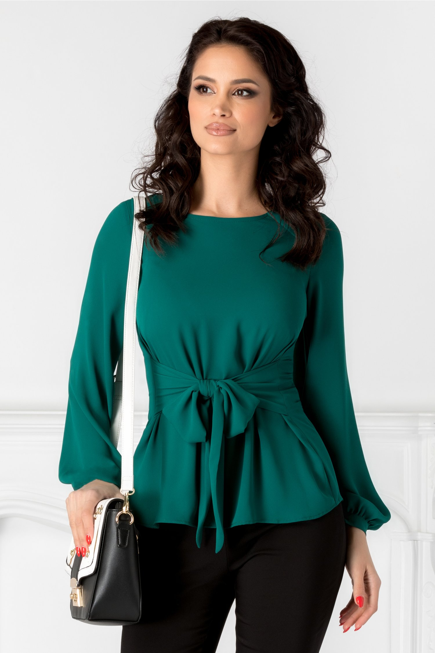 Bluza Leonard Collection verde cu cordon in talie