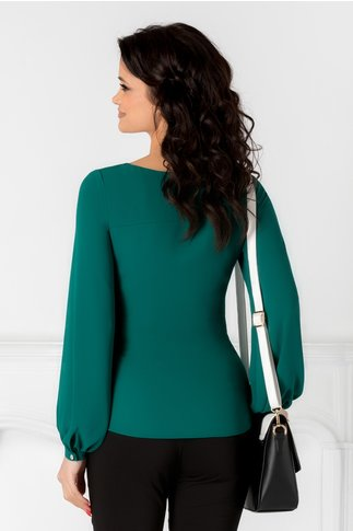 Bluza Leonard Collection verde cu cordon in talie