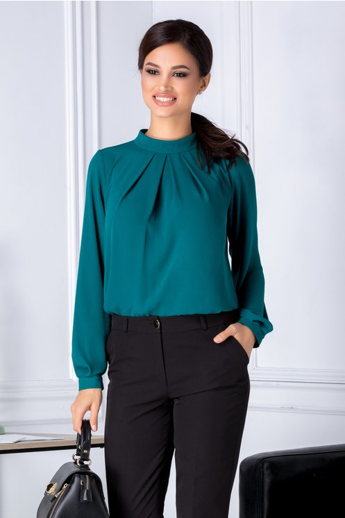 Bluza Leonard Collection verde cu pliuri la bust