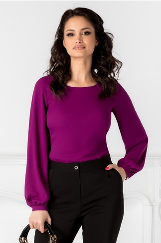 Bluza Leonard Collection violet cu cordon in talie