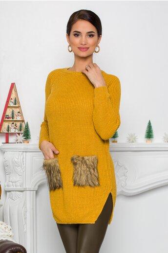Bluza Lexa galben mustar din tricot cu blanita la buzunare