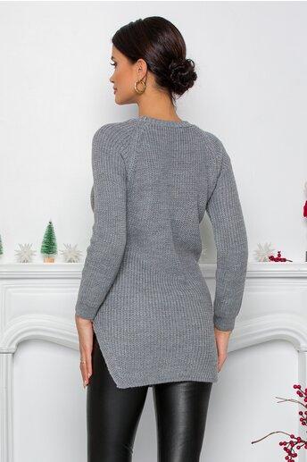 Bluza Lexa gri din tricot cu blanita la buzunare