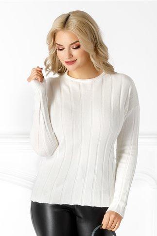 Bluza Lia alba din tricot cu striatii
