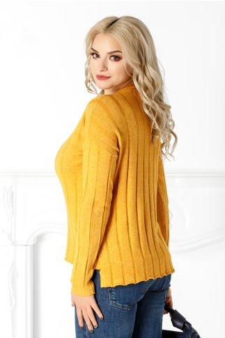 Bluza Lia galben mustar din tricot cu striatii