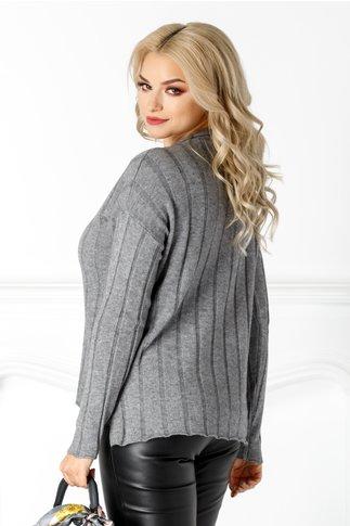 Bluza Lia gri din tricot cu striatii