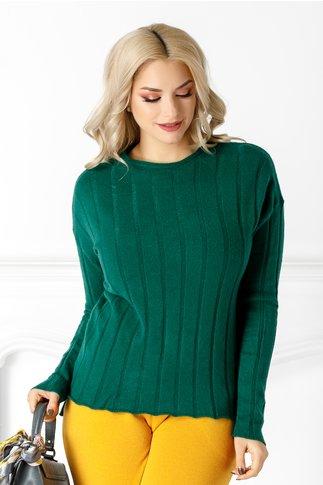 Bluza Lia verde din tricot cu striatii