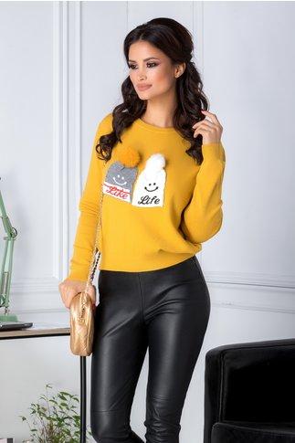 Bluza Like Life galbena cu aplicatii cu puf