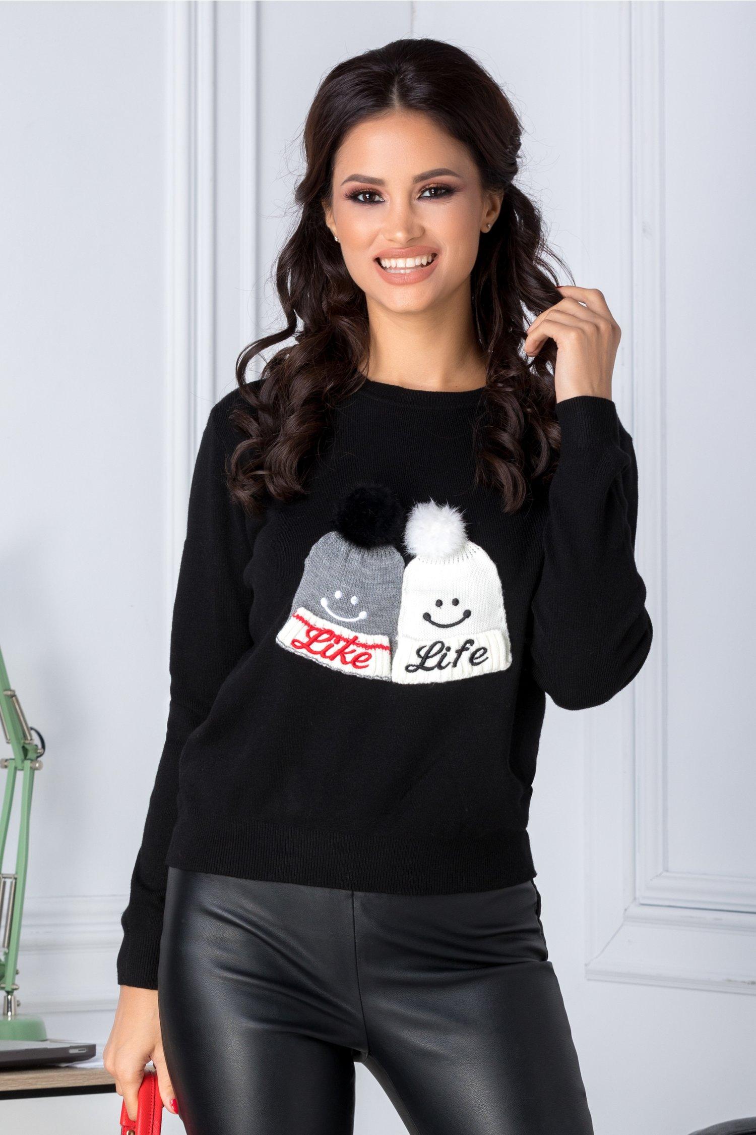 Bluza Like Life neagra cu aplicatii cu puf