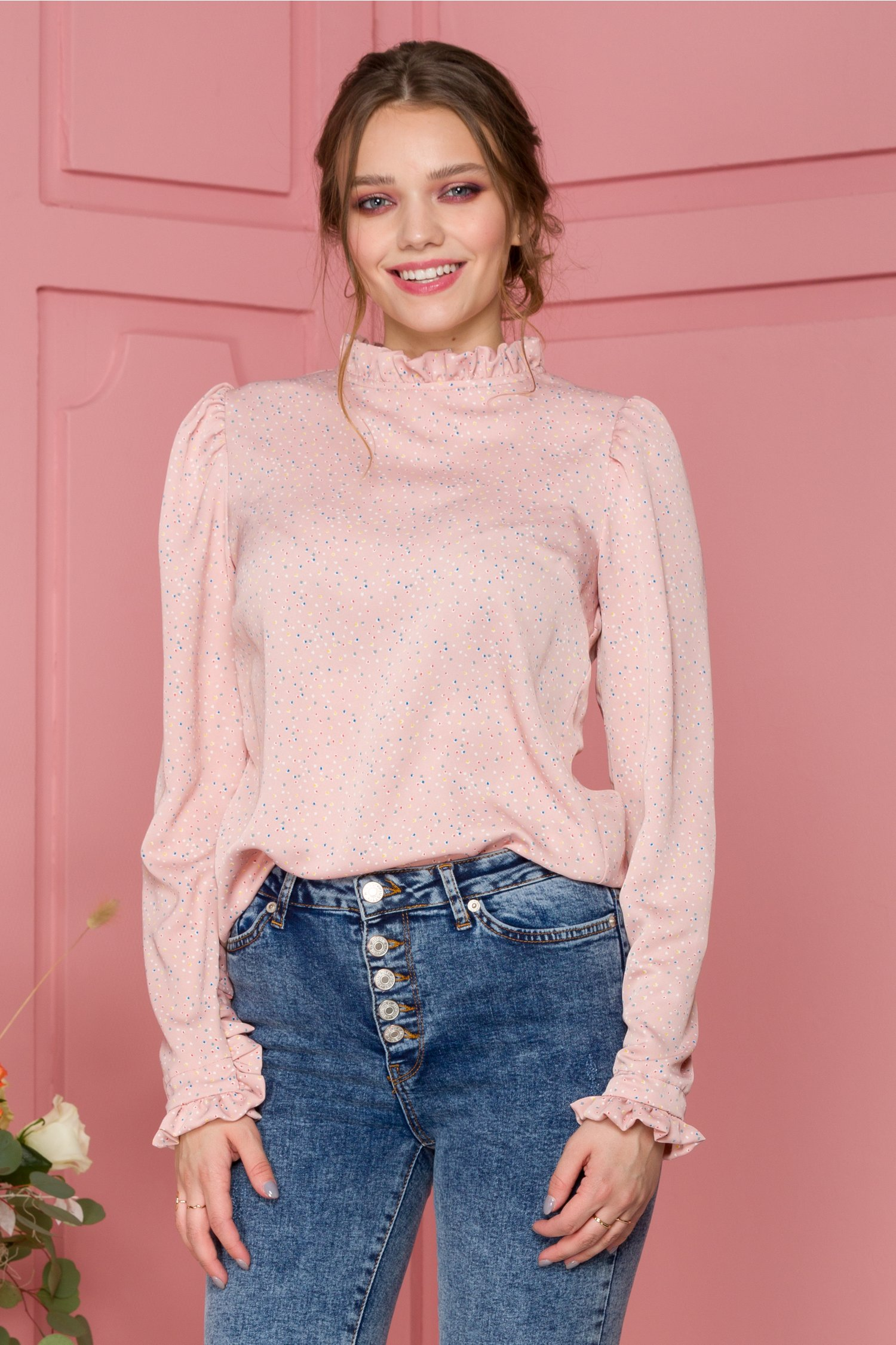 Bluza Lissa roz cu imprimeu multicolor