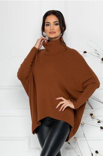 Bluza Livia maro lejera cu lungime asimetrica