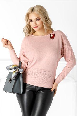 Bluza Livia roz cu brosa