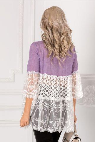 Bluza Lizy lila cu dantela si aplicatie la bust
