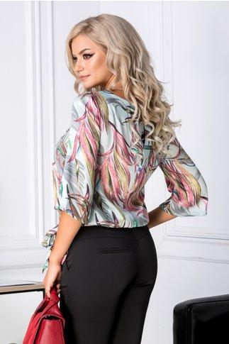 Bluza Lorena bleu cu imprimeu exotic