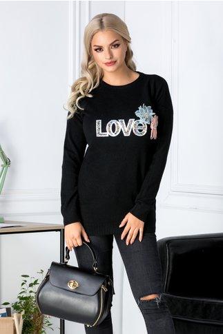 Bluza Love neagra cu aplicatii 3D