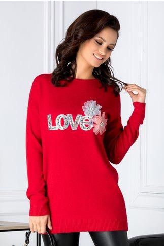 Bluza Love rosie cu aplicatii 3D