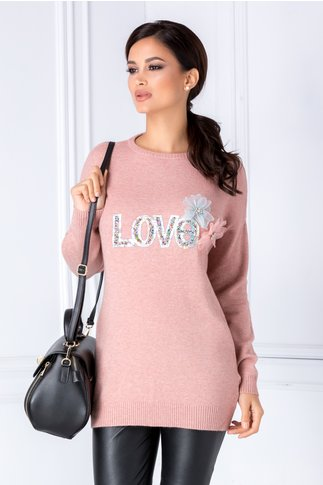 Bluza Love roz cu aplicatii 3D