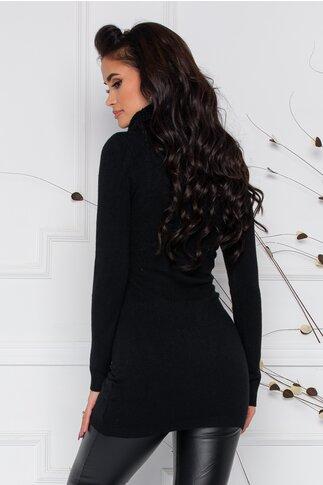 Bluza lunga  Criss neagra din tricot cu guler maxi