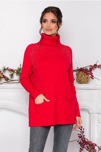 Bluza lunga Naty rosie cu strasuri si buzunare