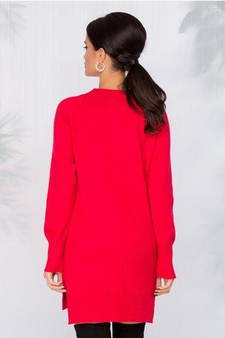 Bluza lunga rosie cu buzunar