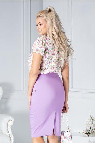 Bluza Fofy Macey alba cu floriele roz