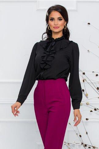 Bluza Madalina neagra accesorizata cu volanas si snur din catifea neagra