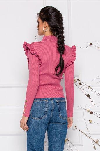 Bluza Maira roz coniac cu volane la umeri si nasturi decorativi