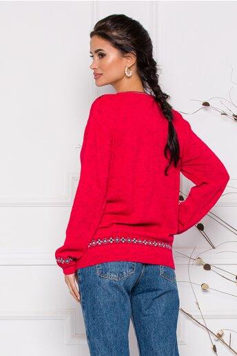 Bluza Mara rosie lejera cu imprimeu geometric