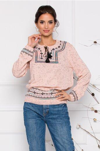 Bluza Mara roz lejera cu imprimeu in stil traditional