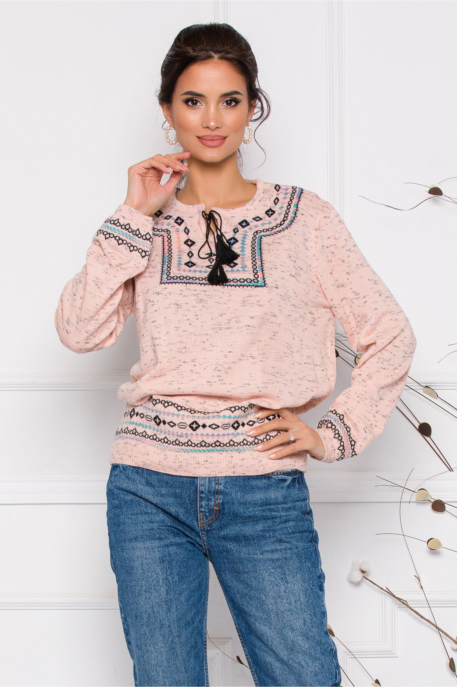 Bluza Mara roz lejera cu imprimeu in stil traditional Idei Cadouri de Craciun Online