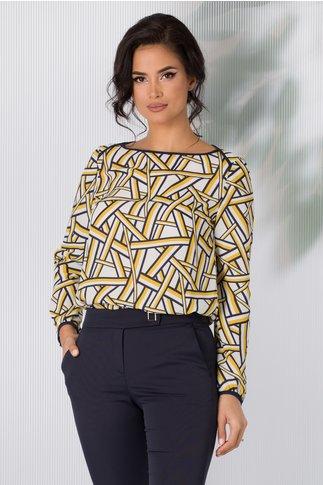 Bluza Marga alba cu imprimeuri geometrice