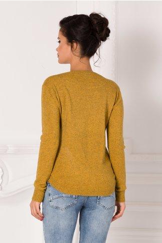 Bluza Maria galben mustar cu insertii si buzunare