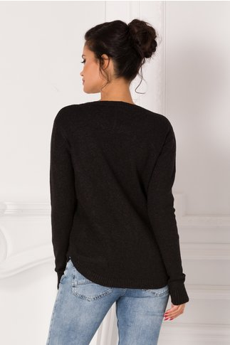 Bluza Maria neagra cu insertii si buzunare
