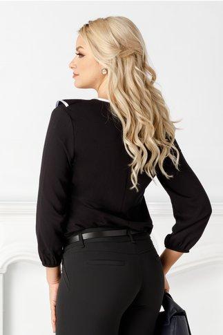 Bluza Maria neagra vaporoasa cu volane la bust