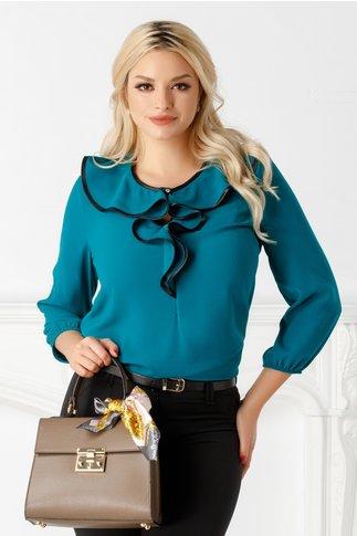 Bluza Maria turcoaz vaporoasa cu volane la bust