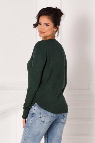 Bluza Maria verde inchis cu insertii si buzunare