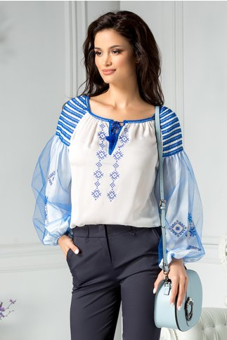 Bluza Marie tip ie cu motive traditionale albastre