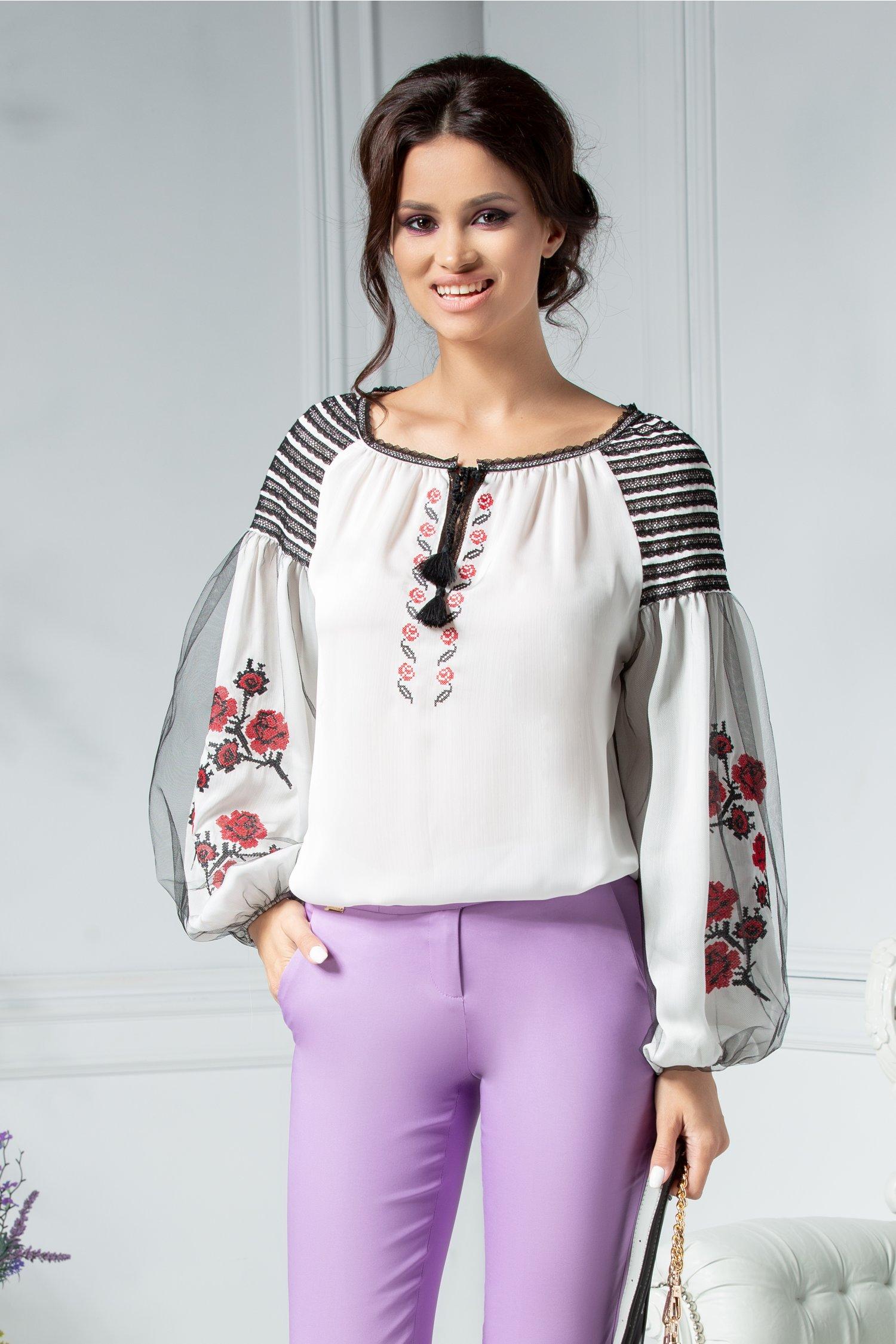 Bluza Marie tip ie cu motive traditionale rosii si negre