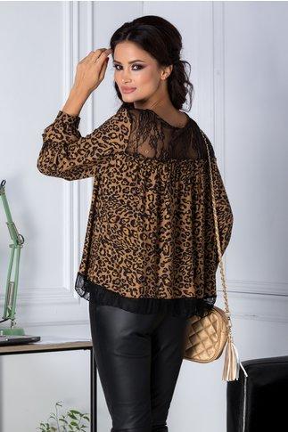 Bluza maro animal print cu dantela neagra
