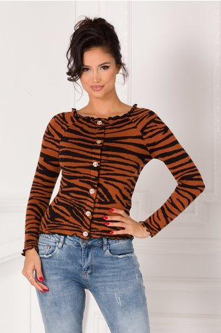 Bluza maro cu nasturi si imprimeu zebra