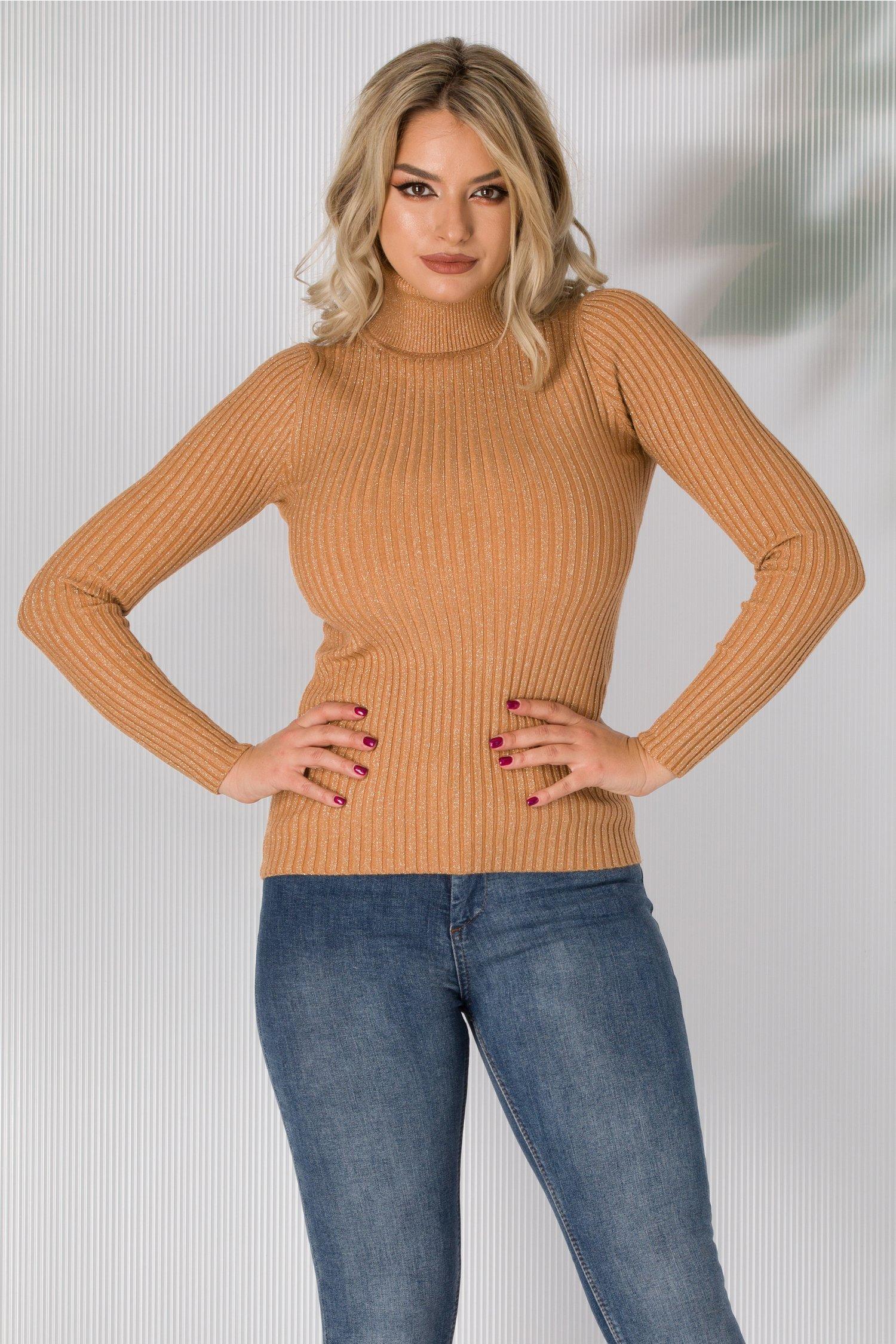 Bluza maro pe gat tip tricot cu sclipici