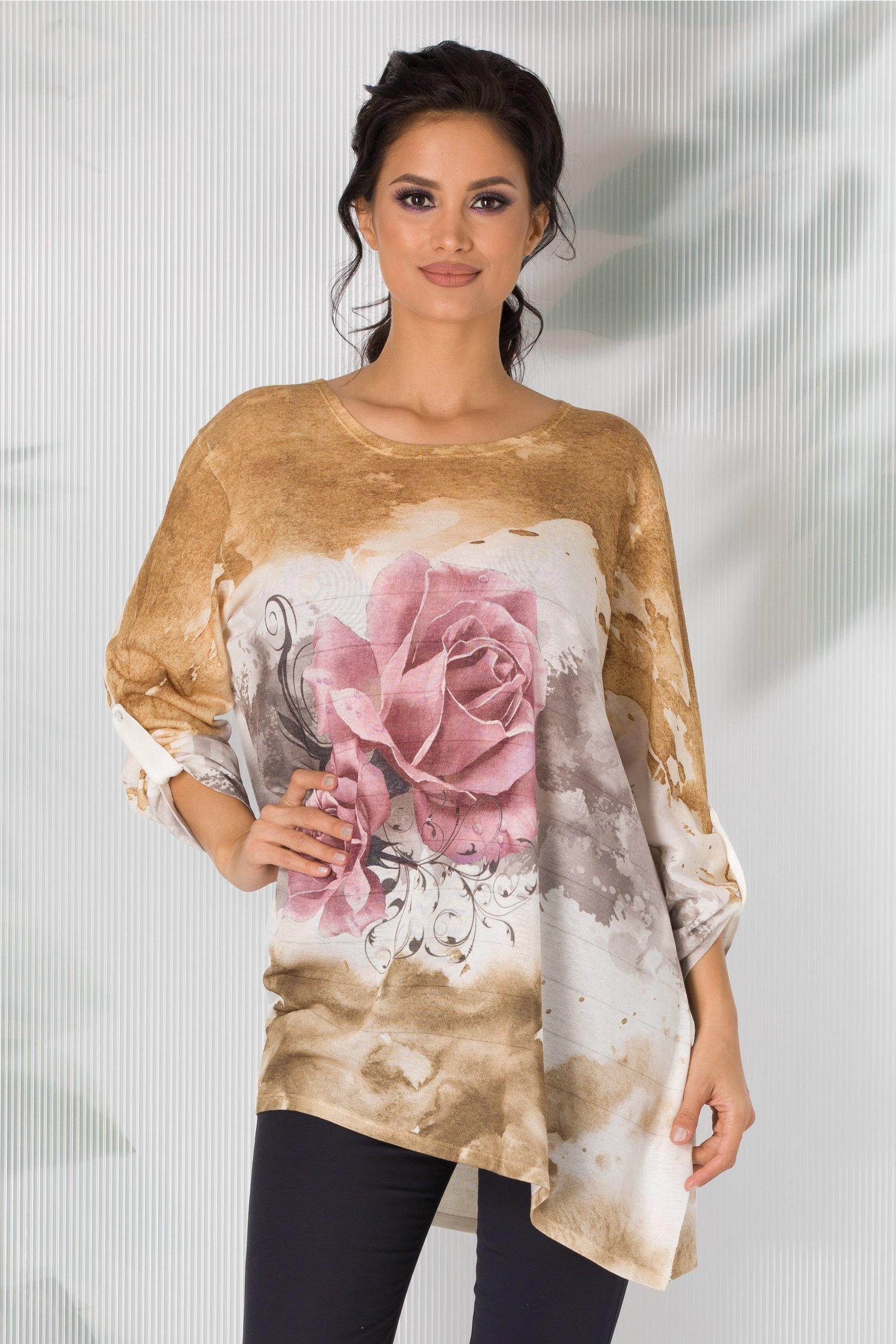 Bluza Cosso maro in degrade cu trandafiri