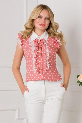 Bluza MBG roz cu buline albe si volane la bust