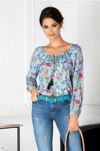 Bluza Megan bleu cu imprimeu floral si dungi
